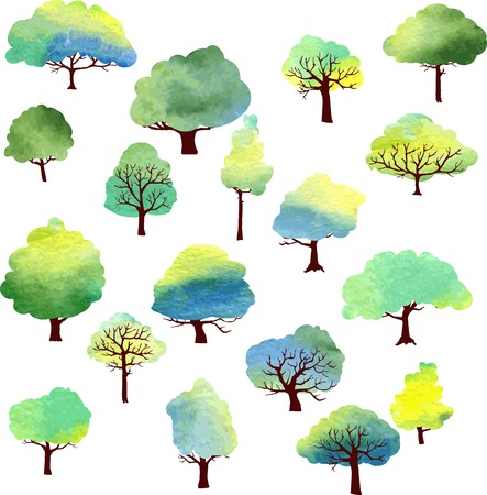 crown cartoon: set of different trees painted by watercolor, vector illustration Illustration
