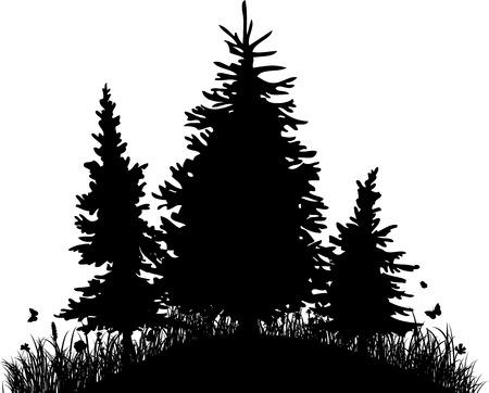 firtrees: Fir-trees on a hill with grass and butterflies, silhouette vector illustartion