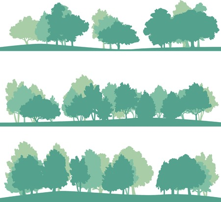 set of different silhouettes of landscape with trees, vector illustration Ilustracja