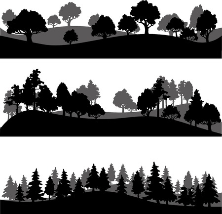 arboles de caricatura: conjunto de diferentes siluetas de paisaje con árboles, ilustración vectorial