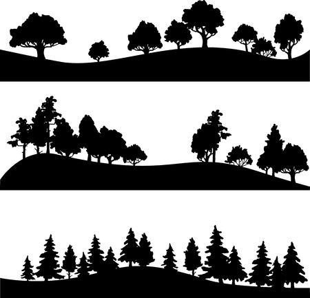 arbol roble: conjunto de diferentes siluetas de paisaje con árboles, ilustración vectorial