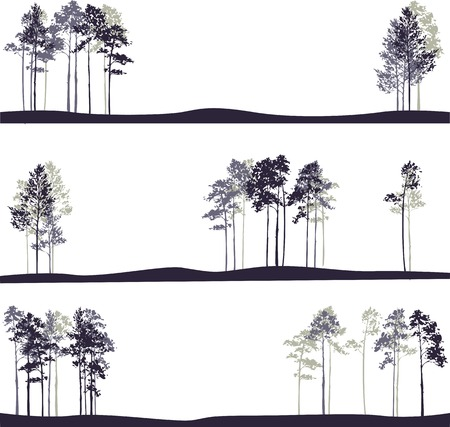 set of different landscapes with pine trees, hand drawn vector illustration