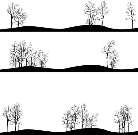 un ensemble de paysages différents avec des arbres d'hiver, dessiné à la main illustration vectorielle