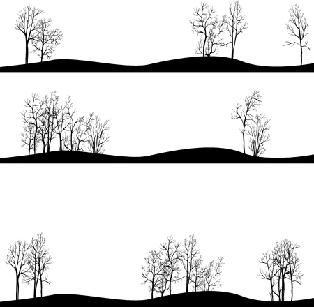 set of different landscapes with winter trees, hand drawn vector illustration