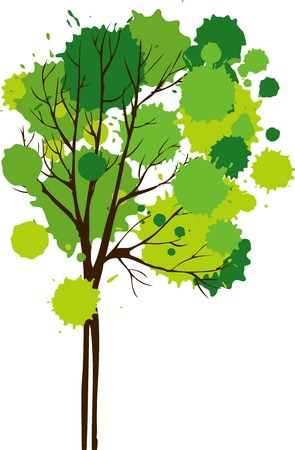 tree trunks: Vector background with tree,tree with decorative foliage of ink spots, hand drawn vector illustration