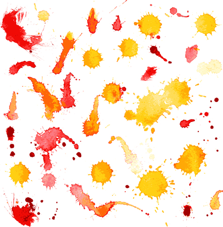 vector watercolor background, isolated blots and splashes of watercolor paint,yellow watercolor, yellow and red free designs, hand drawn vector backdrop Vector