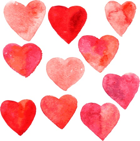 set of red hearts painted by watercolor, hand drawn vector design elements