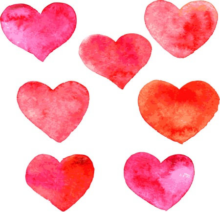 heart symbol: set of red hearts painted by watercolor, hand drawn vector design elements