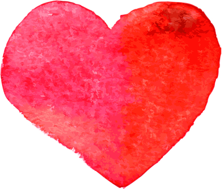 red heart painted by watercolor,  vector illustration Illustration