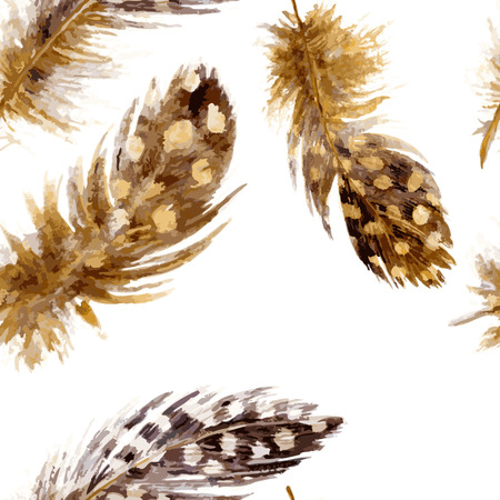 mottled: vector seamless pattern with  mottled brown plumes at white background, watercolor drawing feathers, hand drawn vector illustration