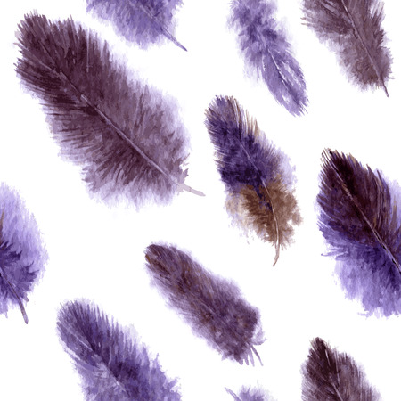 plumes: vector seamless pattern with purple fluffy plumes at white background, watercolor drawing feathers, hand drawn vector illustration Illustration