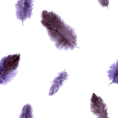 vector seamless pattern with purple fluffy plumes at white background, watercolor drawing feathers, hand drawn vector illustration Illustration