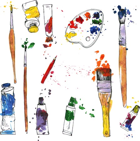 art and craft: vector set of art materials, drawn by wayercolor, palette, isolated art supplies, tubes of paint, brushes and paint stains, accessories for drawing and painting, hand drawn vector illustration