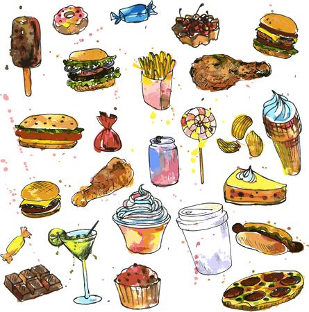 conjunto de dulces y comida rápida, dibujado por la acuarela, los alimentos dibujo acuarela, bosquejo comida, elementos de diseño, dibujado a mano ilustración vectorial