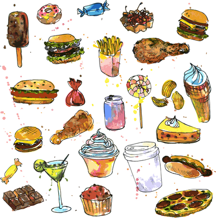 fast food restaurant: set of sweets and fast food, drawn by watercolor, watercolor drawing foods, food sketch, design elements, hand drawn vector illustration
