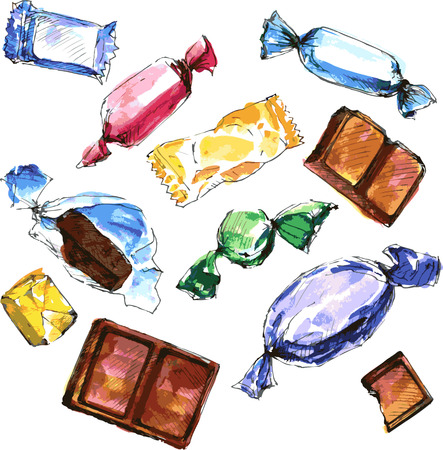水彩描画キャンディのセット、チョコレート、白の背景でお菓子、キャラメル、キャンディー、キャラメル、手描きデザイン要素のスケッチ