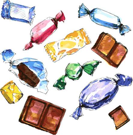dulce de leche: conjunto de dulces dibujo acuarela, dibujo en blanco de fondo, chocolate, dulces, caramelos, dulces y caramelo, dibujados a mano elementos de diseño