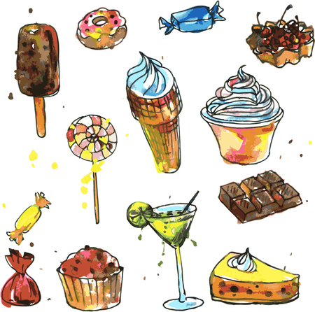 cartoons sweet: set of sweets, drawn by watercolor, watercolor drawing foods, design elements, hand drawn vector illustration Illustration