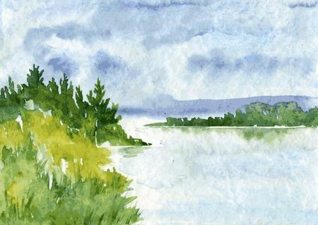 川とトウヒの森、雨の雲と水とトウの茂みの反射ベクトル水彩風景を抽象化、描画ベクトル イラスト、水彩画の背景を手