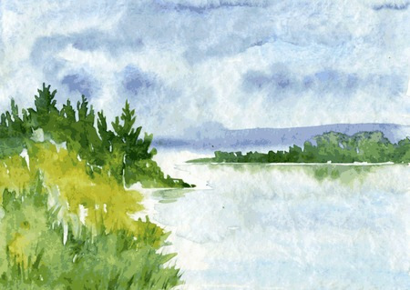 abstract vector watercolor landscape with river and spruce forest, rain clouds and reflection in water and canebrake,  hand drawn vector illustration, watercolor background Illustration