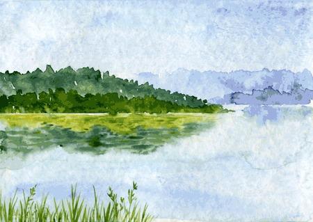 coniferous forest: paisaje abstracto vector de la acuarela con el río y bosque de abetos, las nubes de lluvia y la reflexión en el agua y cañaveral, dibujado a mano ilustración vectorial, fondo de la acuarela