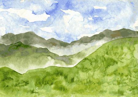 abstract vector aquarel berglandschap met mist en groene heuvels, met de hand getekende vector illustratie, waterverf achtergrond Stock Illustratie
