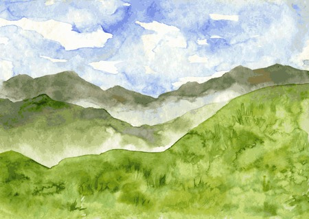 abstract vector watercolor mountain landscape with mist and green hills, hand drawn vector illustration, watercolor background Illustration