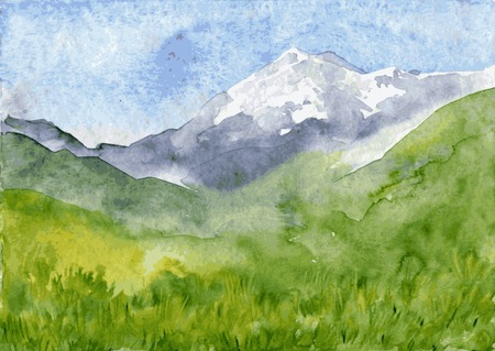 abstract vector watercolor mountain landscape with snow peak and green hills, hand drawn vector illustration, watercolor background