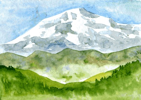 dusky: abstract vector watercolor mountain landscape with snow peak and green hills, hand drawn vector illustration, watercolor background