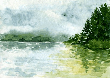 fog: abstract vector watercolor landscape with river and spruce forest, rain clouds and reflection in water,  hand drawn vector illustration, watercolor background