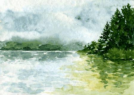 coniferous forest: paisaje abstracto vector de la acuarela con el río y bosque de abetos, las nubes de lluvia y la reflexión en el agua, dibujado a mano ilustración vectorial, fondo de la acuarela