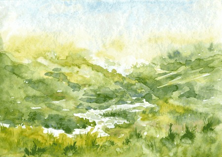 abstract vector watercolor landscape with mist and rising sun, hills and river, cobweb morning in mountains,  hand drawn vector illustration, watercolor background