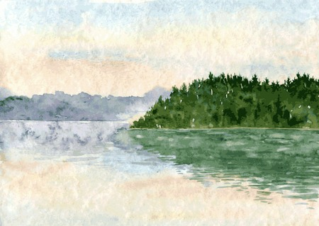 abstract vector watercolor landscape with lake and spruce forest, morning sky and reflected in water,  hand drawn vector illustration, watercolor background 일러스트