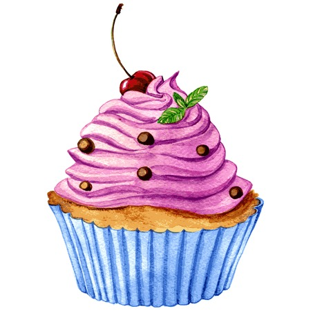 cupcake with pink cream,cherry and mint drawing by watercolor,hand drawn vector illustration, aquarelle dessert
