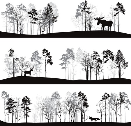 winter tree: set of different landscapes with pine trees and wild animals, forest silhouettes with deer, elk, fox, hand drawn vector illustration
