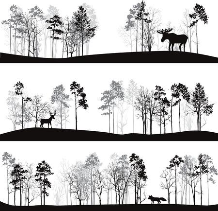 set van verschillende landschappen met pijnbomen en wilde dieren, bos silhouetten met herten, elanden, vossen, met de hand getekende vector illustratie