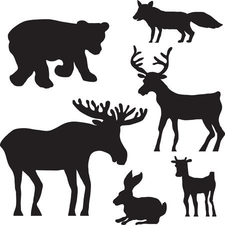 野生動物、鹿、ヘラジカ、クマ、ウサギ、ウサギ、キツネや子鹿のシルエット手描きの背景イラスト  イラスト・ベクター素材