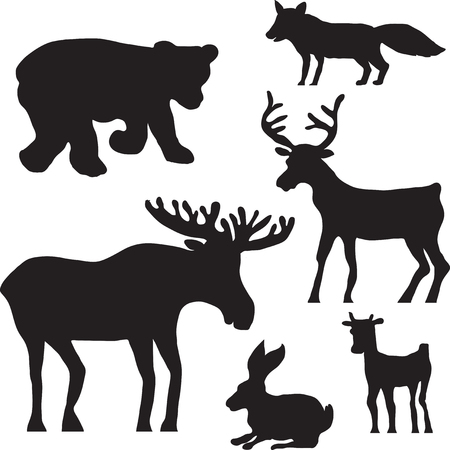 silhouettes of wild animals, deer, elk, bear, hare, rabbit,fox and fawn, hand drawn vector illustration