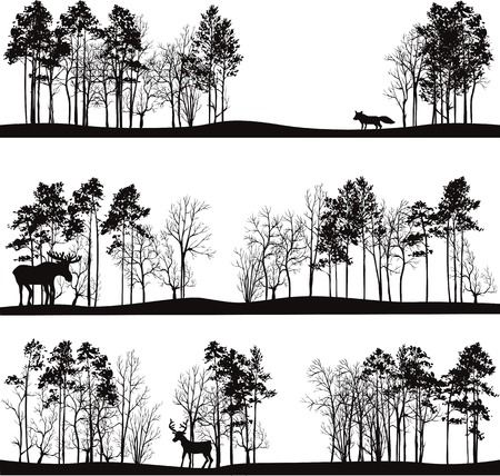 hand drawn cartoon: set of different landscapes with pine trees and wild animals, forest silhouettes with deer, elk, fox, hand drawn vector illustration