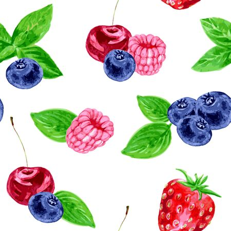 wild strawberry: vector seamless pattern with different berries, raspberry, cherry, blueberry, strawberry and leaves of mint, drawing by watercolor,hand drawn vector background Illustration