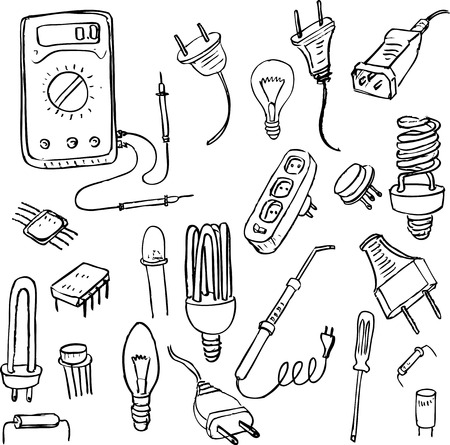 soldering: set of electrical doodle objects, hand drawn vector design elements Illustration
