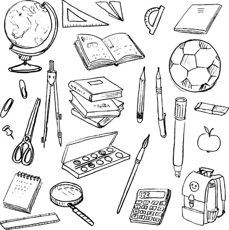 set of school objects, doodle tools for learning, writing utensils and books, hand drawn design elemnts