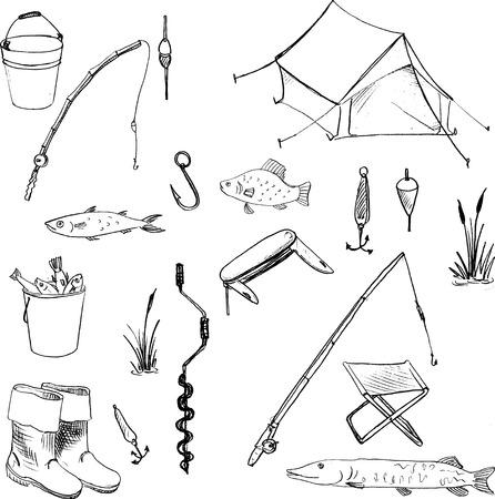 carpa: Doodles accesorios para pesca, vector conjunto de elementos dibujados a mano,