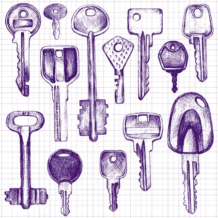 ballpoint: set of different keys, collection of various keys, drawn with a ballpoint pen in vintage style on a paper from a school notebook, page from sketchbooks, hand drawn vector illustration