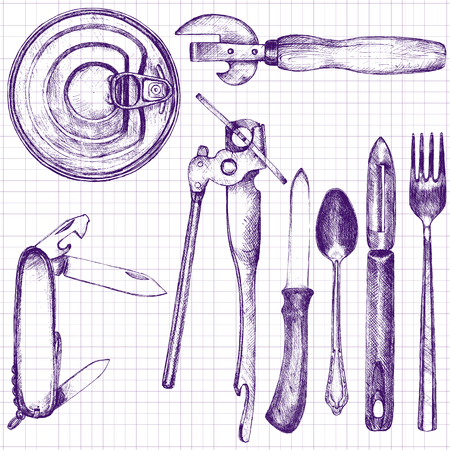 can opener: set of different kitchen utensil,spoon, fork, knife, peeler, can opener, folding knife, drawn with a ballpoint pen in vintage style on a paper from a school notebook, hand drawn vector illustration Illustration