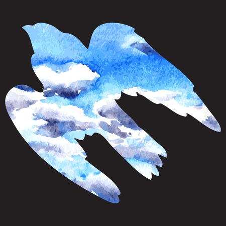 hand carved: vector silhouette of a predatory bird drawing by watercolor,sky with clouds, carved in the shape of bird, isolated hand drawn vector background
