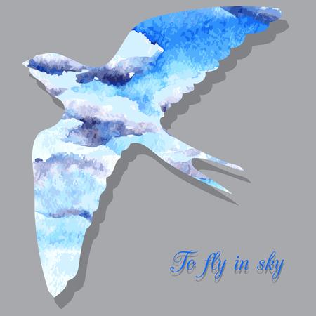 martinet: vecteur dessin hirondelle de silhouette en aquarelle, ciel avec des nuages, sculpt� en forme de rapide, isol� dessin�s � la main vecteur de fond