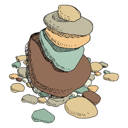 spa still life: round sea stones  lying on one another, cairn, hand drawn vector illustration Illustration