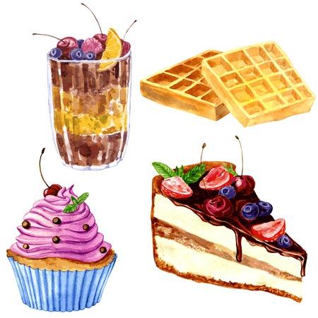 porcion de torta: conjunto de postres de dibujo acuarela, obleas vienesas crujientes, postre de chocolate con bayas frescas, magdalena con crema de color rosa y un trozo de pastel de chocolate, dibujado a mano ilustración vectorial