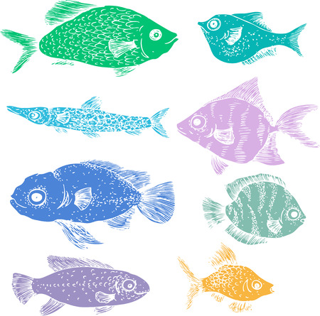 silhouttes: set of different color fishes, flat fishes, silhouttes of fishes, hand drawn design elements Illustration